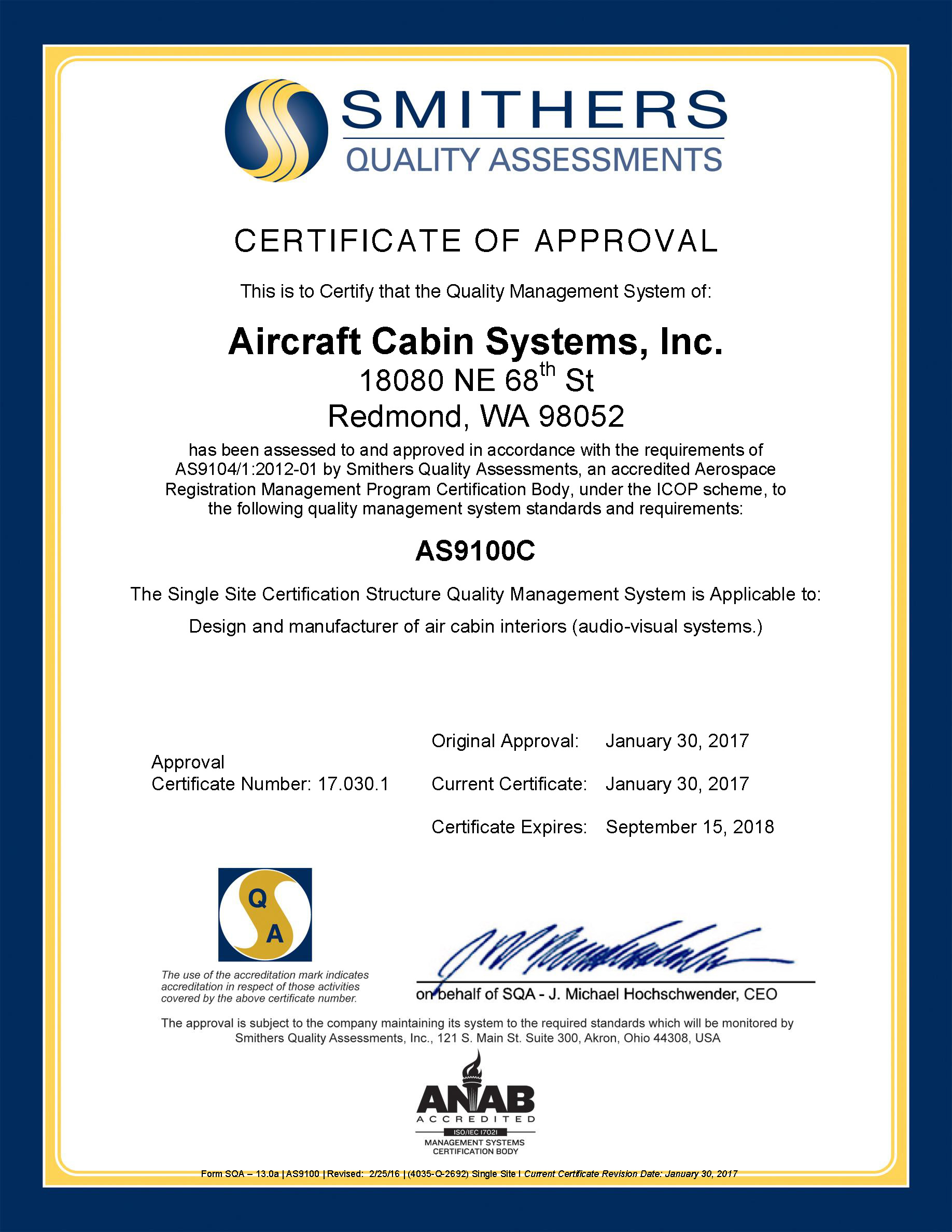 Aircraft cabin systems certifications as9100 as9100 certificate xflitez Image collections