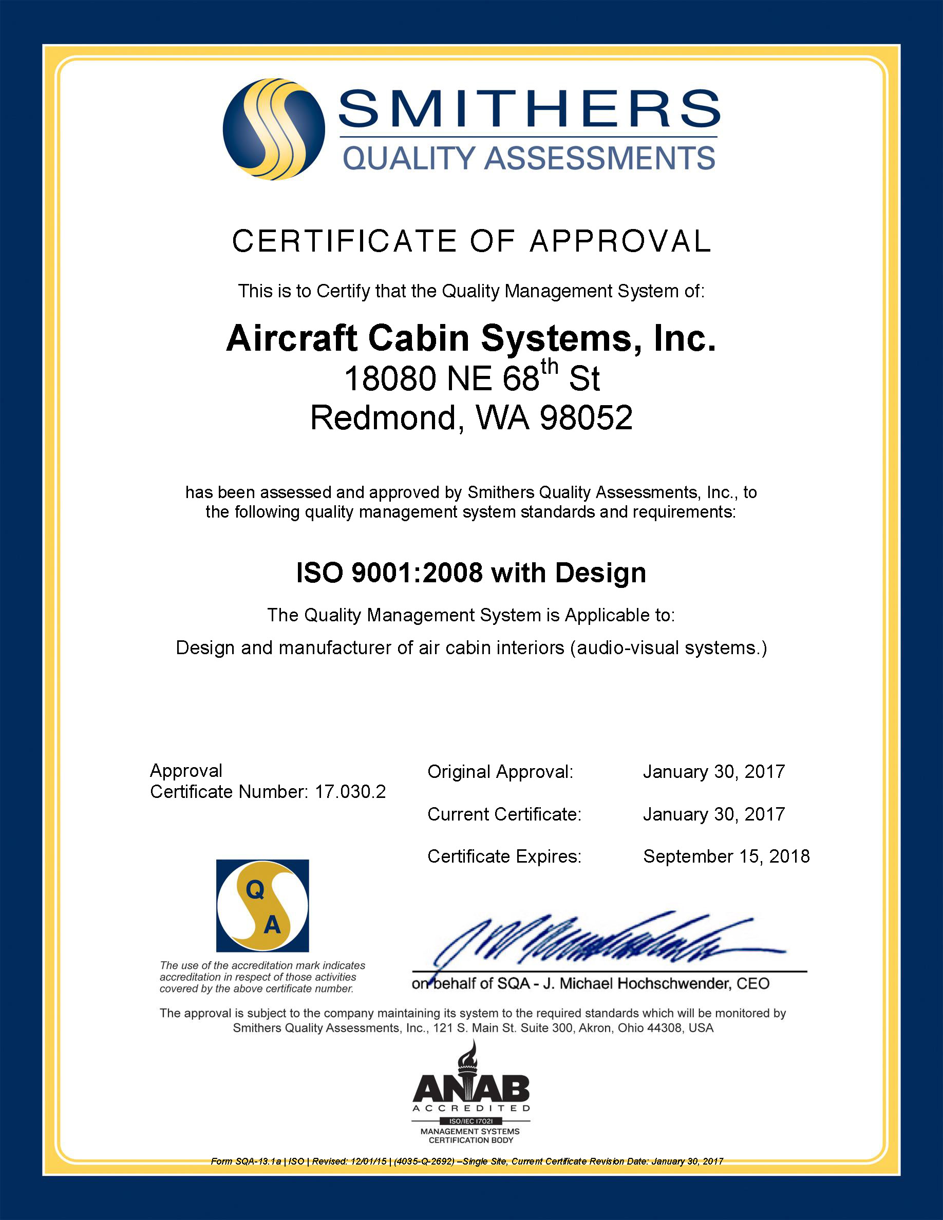 ISO9100 Certificate