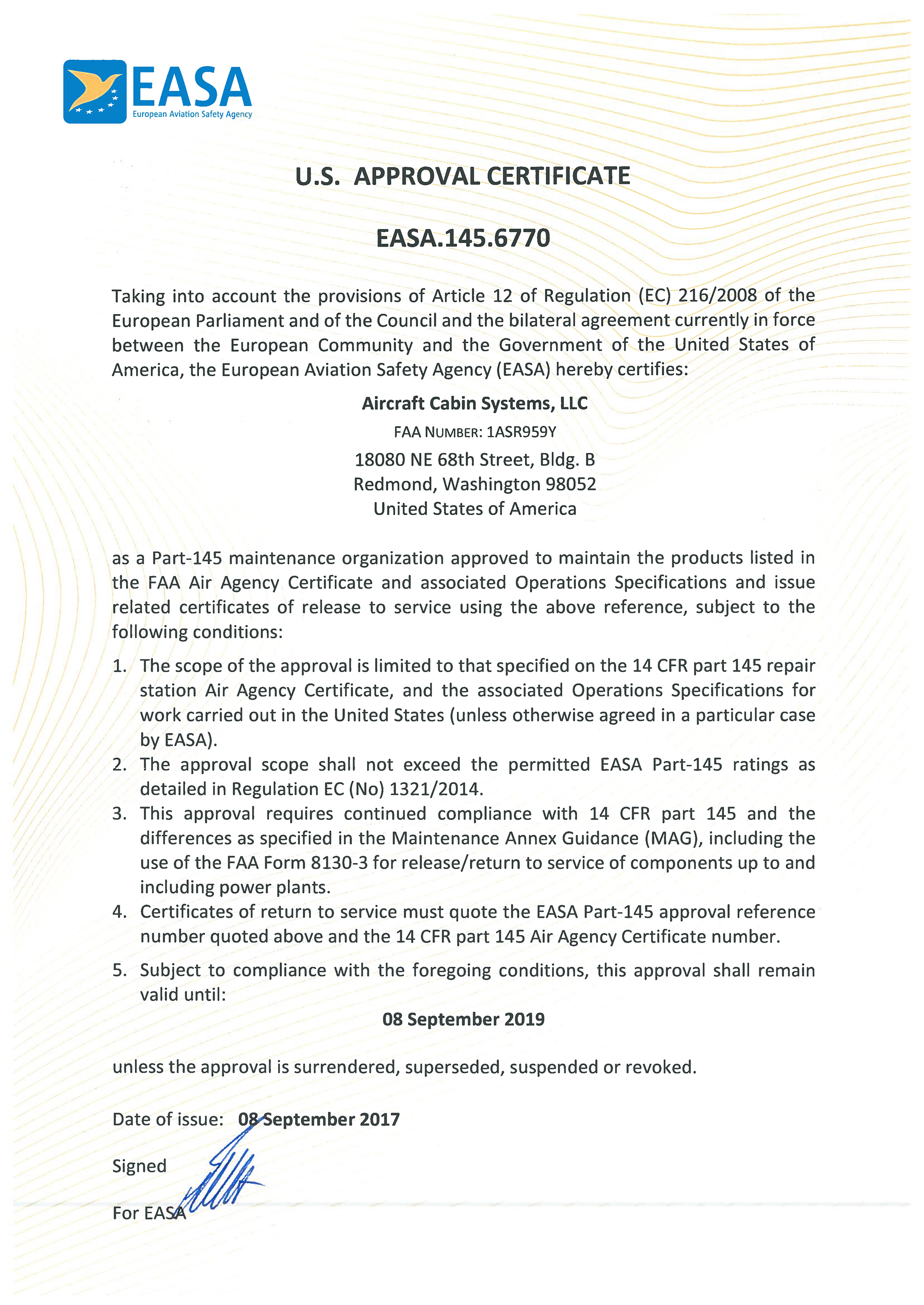 EASA PART 145 Certificate